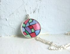 Jewel Tones Pendant Necklace  Stained Glass Abstract by jojolarue, $25.00