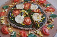"Pizza with Spinach Pesto and Cashew ""Mozzarella"" Cheese | http://www.gluten-free-vegan-girl.com/2013/03/whole-grain-pizza-with-spinach-pine-nut-pesto-cashew-cheese.html"