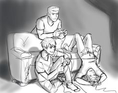 """I love how Dick Grayson is like, """"Man this is fun!"""" and Roy Harper is all serious like, he just passed by and grabbed a remote to play one game to make them stop bugging him, and Wally West is so into it he's somehow turned upside down and is shoving his feet against the couch."""