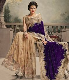 179355 Beige and Brown, Purple and Violet color family Bridal Wedding Sarees in Net, Velvet fabric with Border, Cut Dana, Lace, Zari work with matching unstitched blouse.