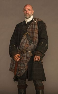 "10. ""Graham McTavish (Dougall) wears his pinned at the shoulder and across his chest, very aristocratic,"" said Dresbach. ""Grant O'Rourke (Rupert) tucks a corner of his plaid into his belt to create a pocket to carry his hat. Steven Walters (Angus) uses a special rock to clasp his plaid to create what is called a pauper's knot in the Highlands. At one point his rock was lost and he panicked as a Highlander told him to keep it safe and never let it leave Scotland. We found it and keep it very…"