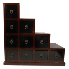 """Buy 24 """"H. Double Sided Two Tone Asian Elmwoood Step Tansu online and save over retail stores. Trust our 30 years of experience as direct importers. Japanese Furniture, Oriental Furniture, Chinese Cabinet, Geometric Decor, Cabinet Styles, New Room, Decoration, Decorating Tips, Dekoration"""