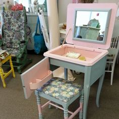 Sewing machine table converted to b vanity. Paino bench made smaller to match. $300