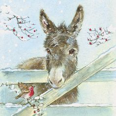 Bird and donkey illustration Christmas Donkey, Christmas Animals, Christmas Art, Illustration Noel, Christmas Illustration, Vintage Christmas Cards, Christmas Pictures, Vintage Cards, Animal Paintings