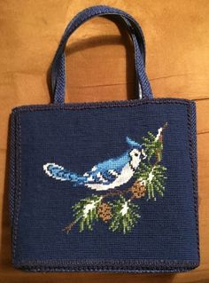 Needlepoint Blue Jay Bird Pocketbook 2 Handles 9 Inches Tall Inside Clasp Pocket