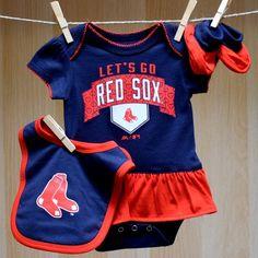 Red Sox Baby Girl Onesie Bib Booties - Let's Go