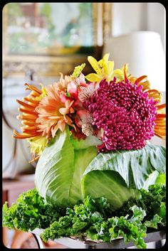 Flowers in a cabbage.