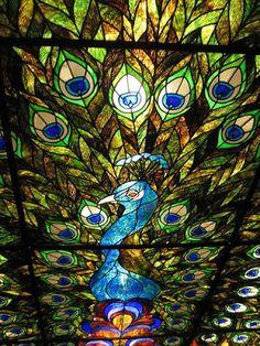 The Davenport Hotel, Washington Peacock Stained Glass window