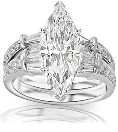 1.31 Carat Marquise Cut / Shape GIA Certified 14K White Gold Baguette And Round Brilliant Diamond Engagement Ring and Wedding Band Set ( E Color , VS1 Clarity )