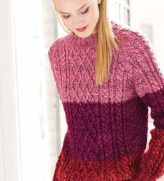 02b982952562 Free Knitting Pattern for a Colorblock Fisherman s Sweater in Noro Silk  Garden Solo ⋆ Knitting Bee