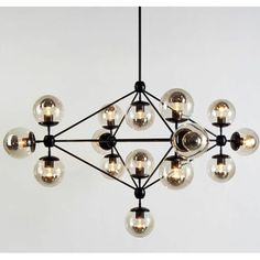 Modo Pendant Light/ 6 sided Chandelier 21 Globes Balls by Jason Miller from Roll and Hill Lamp Lighting Fixture Linear Chandelier, Chandeliers, Black Chandelier, Jason Miller, Geometric Nature, Lighting Store, Hanging Lights, Polished Nickel, Modern
