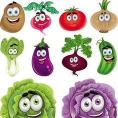 cartoon fruit and vegetable images | Cartoon Vegetables Vector Collection Cartoon Vegetables Vector ...