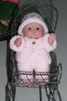 "Cute 2 piece 5"" Berenguer baby doll knitting pattern to buy."