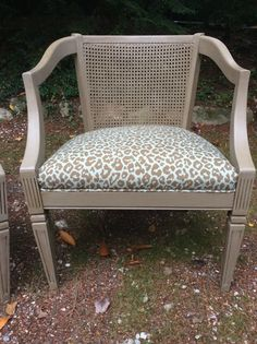 Pair of Vintage Barrel Chairs with Cane Backs  by DixHillDecor