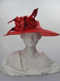 Wide-brimmed hat (front view) | Label: Philip Treacy | Red parisisal hat with shallow crown and wide sinamay brim, trimmed with silk and velvet flowers and buntal waves. Secured by two wired grips | Summer wear. Free size | Made in England