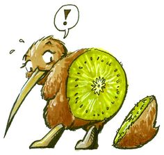 This cracked me up! This is a kiwi, a small bird native to New Zealand, also a kiwi is a fruit Kiwi Bird, Small Birds, Bird Art, Hanging Out, New Zealand, Nativity, Rooster, Beast, Deviantart