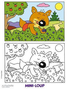 Coloriage le gentil loup et dessin colorier le gentil loup avec couture enfants - Coloriage mini loup et les pirates ...