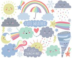 Weather Clipart Cute Clipart Cloud Clipart Spring Clipart