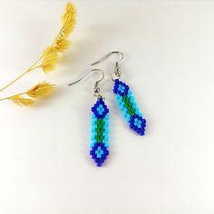 Little earrings Blue green earrings Iris earrings Delica by Galiga