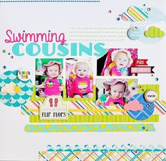 #papercraft #scrapbook #layout  Swimming Cousins Queen and Company