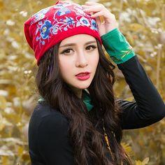 Étnico diseñador skullies gorros para las mujeres otoño invierno estilo Mexico original rojo azul amarillo bordado sombrero gorros(China (Mainland))