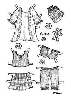 SUSIE from Karen`s Paper Dolls to Print and Colour 3 of 5