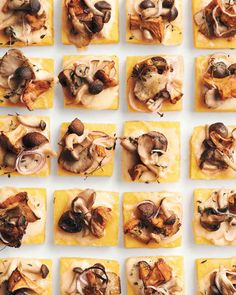 A mix of mushrooms gives the best range of textures and earthy flavors, and the assortment also looks more interesting than just one variety of mushroom would. Once the polenta is cold and set, it can be covered with plastic wrap and refrigerated for up to three days. This recipe is adapted from Martha Stewart's Appetizers.