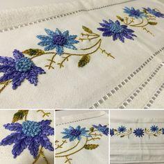 Kurdele nakışı havlu kenarı Ribbon Embroidery, Embroidery Patterns, Kutch Work, Ribbon Work, Hobbies And Crafts, Lana, Diy, Ribbons, Artwork