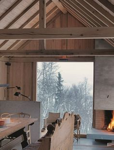A modern chalet in Norway. Winter Cabin, Cozy Cabin, Cozy Winter, Winter Holiday, Winter Snow, Cabin Interiors, Interior Exterior, Interior Ideas, Architecture Design