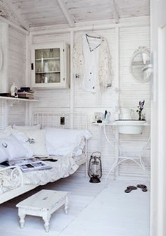 Christine Bauer - Fotografie - Interiors Romantic  Ikea do a day bed which has just given me the ideal 'sofa' option for the girls' summerhouse :-)