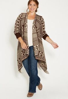 Plus Size Blanket Cardigan In Ethnic Pattern With Fringe