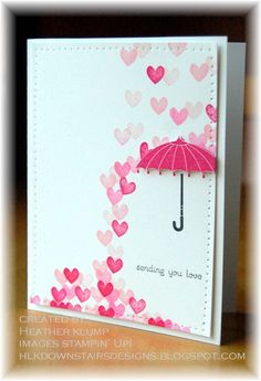 "handmade Valentine card from Downstairs Designs: Love ""rains"" ...  cute rainfall of stamped pink heart ... dimensional umbrella protects the sentiment ... sweet card could be sent anytime ... Stampin' Up!"