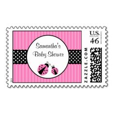 pink and black ladybug striped dots baby shower stamps