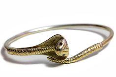 Serpente Cobra argento Bracciale oro rubino