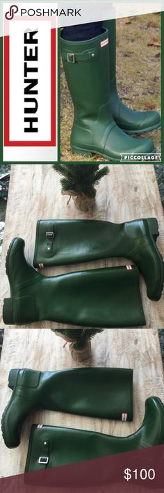 "☔️Hunter Original Tour Rainboot/Green/sz 9 Stow and go with a lightweight rain boot built from natural, flexible rubber for rollaway packability.  Approx. heel height: 1 1/4"". Approx. boot shaft height: 15 1/2""; 16"" calf circumference. In hot or humid weather, natural latex rubber releases a protective wax film; simply wipe it off with a damp cloth. Rubber upper/textile lining/rubber sole.      Only worn once or twice, look brand new. No box. 🚫no trades, low offers not accepted Hunter Boots…"