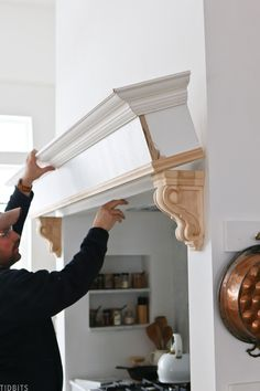 Fireplace Molding, Moulding And Millwork, Diy Molding, Top Of Cabinets, Built In Cabinets, Homey Kitchen, Kitchen Ideas, White Artificial Christmas Tree, Baseboard Trim
