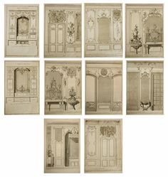 Original 18th Century French Architecture | Interior Design Engravings | Dining Room | Bedroom | Furniture