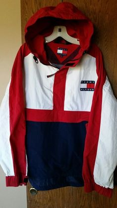 about Vintage Tommy Hilfiger Men Red Color Block Big Flag Hooded Windbreaker Jacket XL Vtg Tommy Hilfiger Colorblock Flag Hooded Jacket Pull over Windbreaker jacket Tommy Hilfiger Windbreaker, Tommy Hilfiger Outfit, Tommy Hilfiger Jackets, Tommy Shoes, Windbreaker Outfit, Tommy Hilfiger Vintage, Style Masculin, Pj Pants, Grey Pants