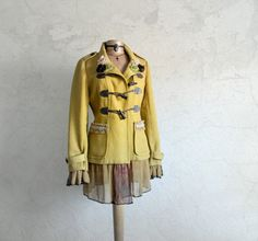 Womens, bohemian, upcycled, chartreuse, herringbone, boho chic coat in size large. One-Of-A-Kind, eco friendly, handmade, clothing and