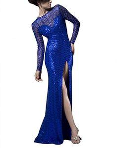 Newdeve Long Sleeves Side Slit Open Low Back Floor Length Blue Sequined Evening Dresses Women's Evening Dresses, Formal Dresses, Low Back, Floor, Long Sleeve, Sleeves, Blue, Fashion, Dresses For Formal
