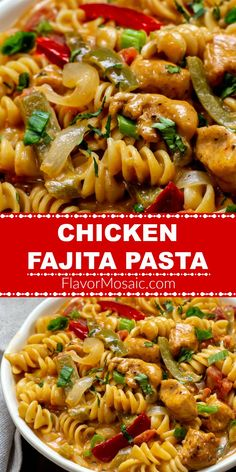 Chicken Fajita Pasta is an easy creamy cheesy chicken and pasta one-pot meal with Mexican Fajita-spiced chicken pasta onions and bell peppers in a creamy cheesy sauce that can be on the table in 30 minutes! Mexican Pasta Recipes, Chicken Pasta Recipes, Chicken Spices, Chicken And Vegetables, Fajita Chicken Pasta, Pasta With Chicken, Easy Chicken Fajitas, Easy Pasta Recipes, Fajita Pasta Recipe