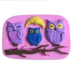 The Three Little Owl Fondant Cake Silicone Mold Chocolate Clay Resin mould Sugarcraft Cake Decorating Tools