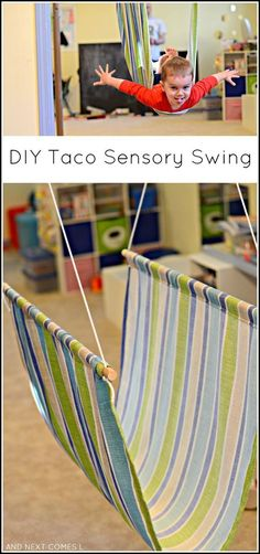 Tutorial for making a DIY taco sensory swing from And Next Comes LTap the link to check out great fidgets and sensory toys. Check back often for sales and new items. Happy Hands make Happy People! Sensory Tools, Autism Sensory, Sensory Diet, Motor Activities, Sensory Activities, Activities For Kids, Proprioceptive Activities, Sensory Swing, Sensory Play