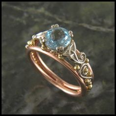 Unique aquamarine celtic ring.
