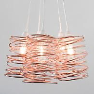 The Spiral Nest Cluster 5 Light Chandelier is a fortuitous accident born from a scribble in an artist's notepad. Copper Lamps, Copper Lighting, Modern Lighting, Pendant Lighting, Lighting Ideas, 5 Light Chandelier, Pendant Light Fixtures, Chandeliers, Copper And Marble