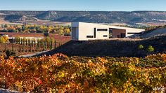 O novo edifício da vinícola Valdemonjas, em Quintanilla de Arriba, Espanha, desafia a gravidade com um caixote branco apoiado sobre uma colina! #wine #vinho #Espanha #Spain