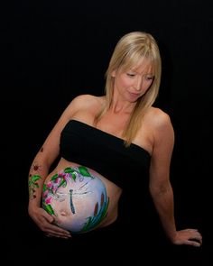 Dragonfly pregnancy bump paint.  Artist Kate Cox (Funky Monkey Face Painting & Body Art) Photo by Shanon Leigh, Say Something Photography