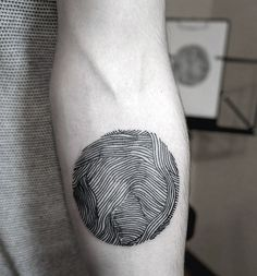 Small Circle Line Work Tattoo Of Mountains For Men On Inner Forearm