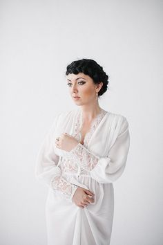 Boudoir Bridal Silk and Lace Robe Nightgown by theivorysilk