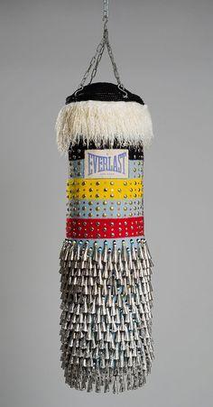Works by artist Jeffrey Gibson. Jeffrey Gibson on Land Art, Muay Thai, Modern Art, Contemporary Art, Contemporary Sculpture, Punching Bag, Native American Artists, Textiles, Installation Art